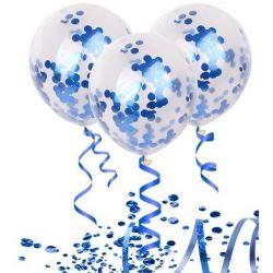 Plnené balóny s konfetami 5 ks - modré kruhy