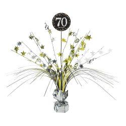 Dekorácia na stôl 70. narodeniny strieborno-zlatá