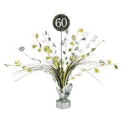 Dekorácia na stôl 60. narodeniny strieborno-zlatá