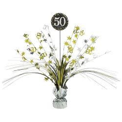 Dekorácia na stôl 50. narodeniny strieborno-zlatá