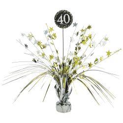 Dekorácia na stôl 40. narodeniny strieborno-zlatá