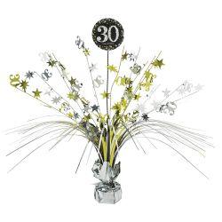 Dekorácia na stôl 30. narodeniny strieborno-zlatá