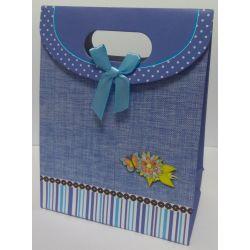 Taštička modrá s kvetinkou a motýlikom