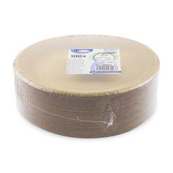 Papierový tanier plytký hnedý (PAP) priemer 23cm