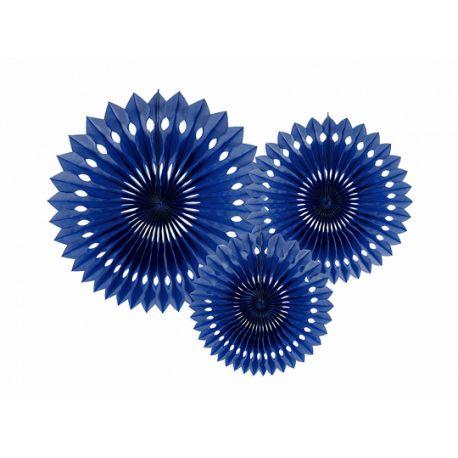 Závesné papierové vejáriky - tmavo modré