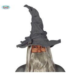 Šedý plátený čarodejnícky klobúk