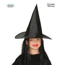 Detský čarodejnícky klobúk s vlasmi