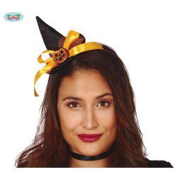 Čierno/oranžová čelenka s klobúkom