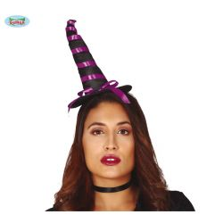 Čelenka - Čierno/fialový mini čarodejnícky klobúk