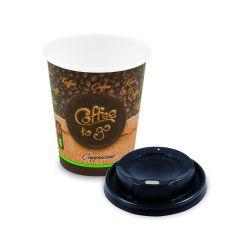 """Papierový pohár """"Coffee to go"""" M + viečko vypuklé čierne"""
