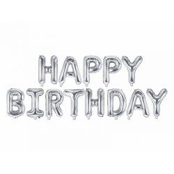 Fóliový nápis Happy Birthday - strieborný