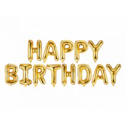 Fóliový nápis Happy Birthday - zlatý