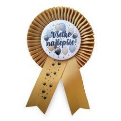 Elegantný odznak Všetko najlepšie zo zlatou stuhou