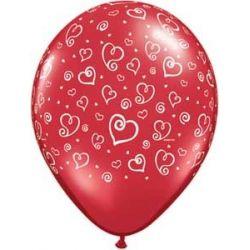 QUALATEX červený balón s potlačou srdiečka (28cm)