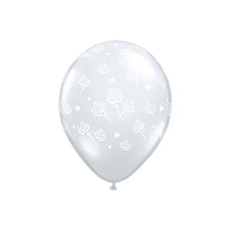 QUALATEX priehľadný balón s ružičkami (13cm)
