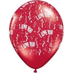 QUALATEX červený balón s potlačou I love you (28cm)