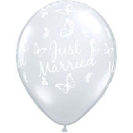 QUALATEX priehľadný balón perleťový balón s bielou potlačou Just Married a motýľov (28cm)