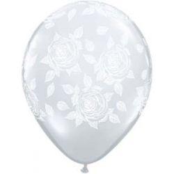 QUALATEX priehľadný balón s ružami (28cm)