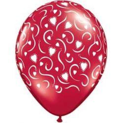 QUALATEX červený balón so srdiečkami a ornamenty (28cm)