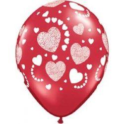 QUALATEX červený balón s veľkými srdiečkami (61cm)