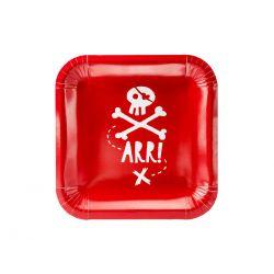 Pirátske taniere, červené, 20 x 20 cm