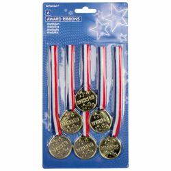 Medaile zlaté, 6 ks v balení