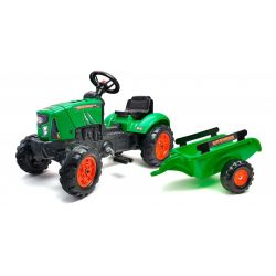 Traktor šliapací s vlečkou zelený