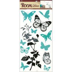 Samolepka Motýle+kvety 69x32cm